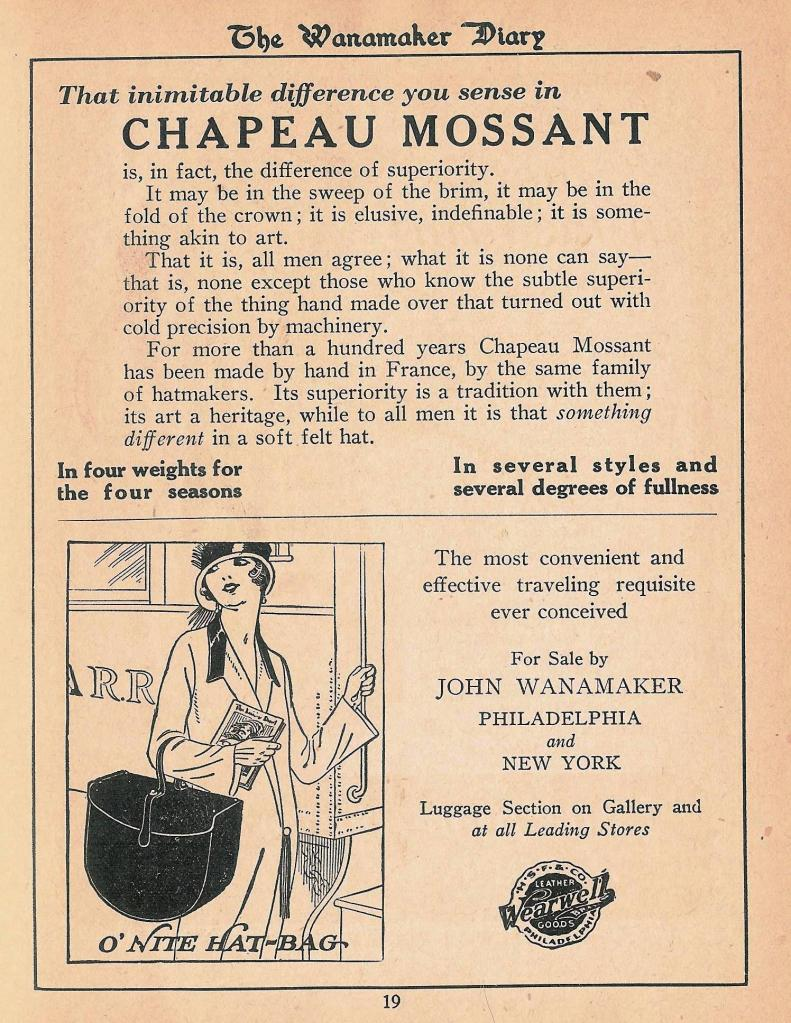 Chapeau Mossant 1925 Wanamaker Diary