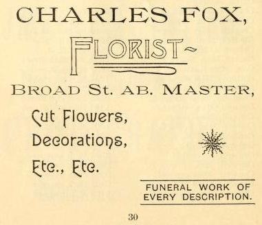 Chas Fox florist funeral work 14+Mst ab 1892 Grace Bp Visiting List_0040