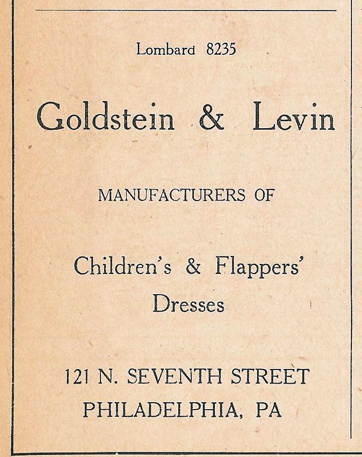 Goldstein+Levin, Flapper Dresses, 121 7n 1925 Wanamaker Diary