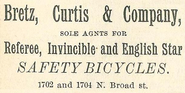 Bretz. Curtis+Co, safety bicycles 1704 02 14n Boyds BusDir 1890 740
