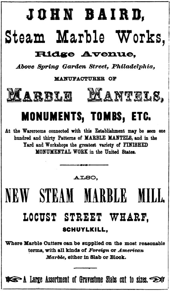 Jhn Baird, steam marble works Rg+SG ab Freedley 1867 430