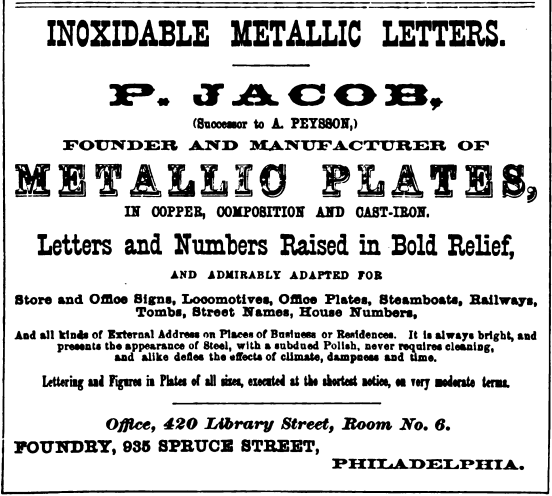 P Jacob, inoxidable metallic letters, 935 Spr Freedley 1867 461