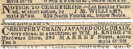 Cemetery railings and chains PUBLIC LEDGER 15 5 56