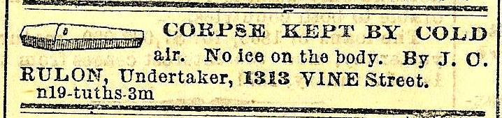 JC Rulon, undertaker' corpse kept by cold MORNING POST 3 Jan 1871