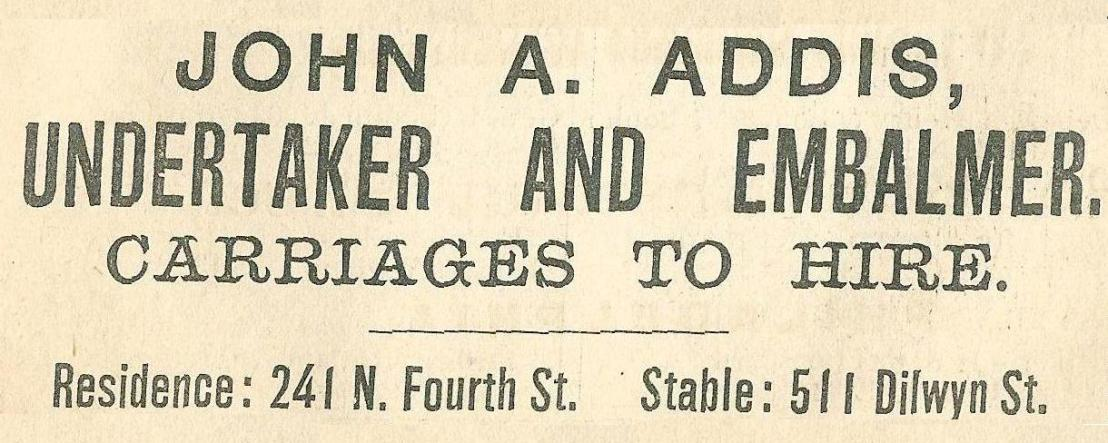 Jhn A Addis, undertaker+embalmer 241 4n Boyds BusDir 1890 1343