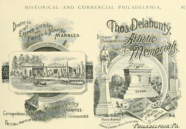 Thos Delahunty memorials Rg opp Laurel Hill 1892 HCP