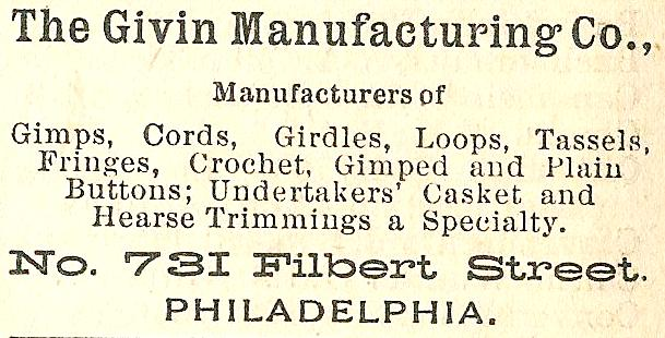 Givin Mfring Co, trims, esp for undertakers 731 Flb Boyds BusDir 1890 1346