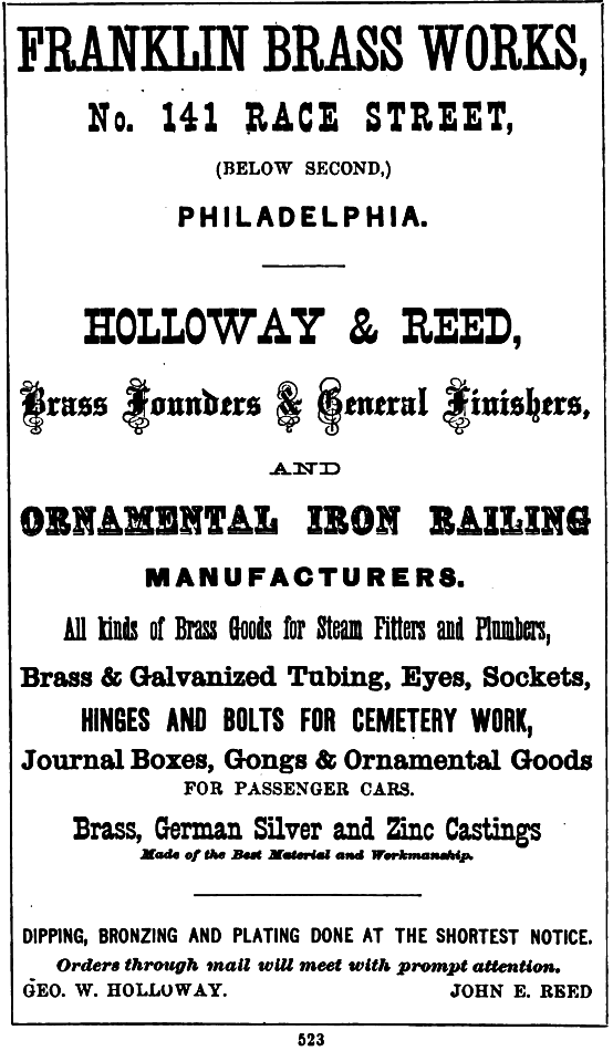 Holloway+Reed, Franklin Brass works 141 Rce Freedley 1867 523