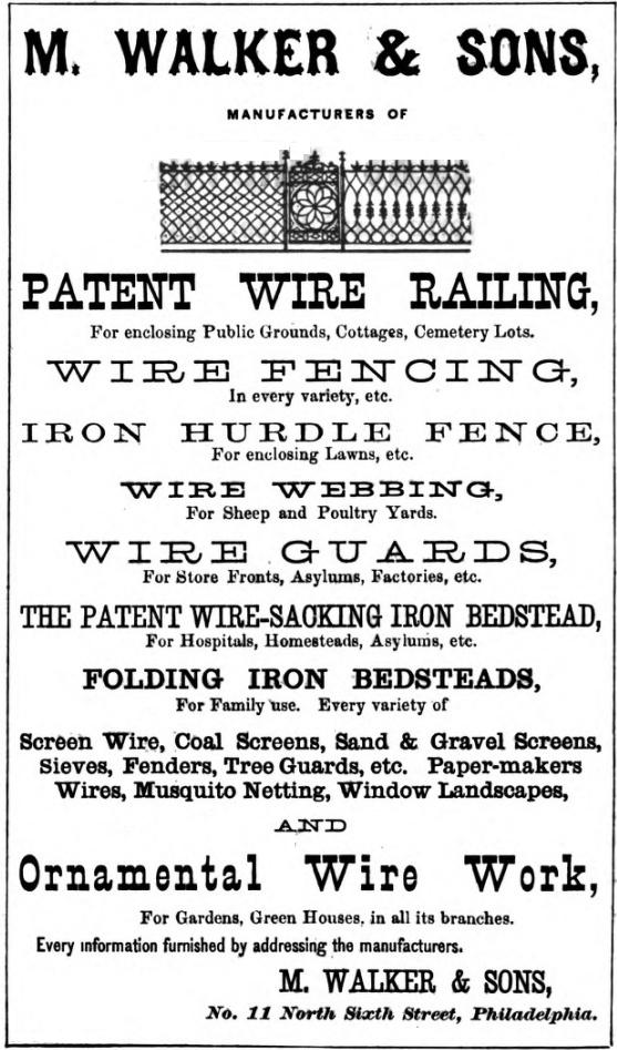 M Walker+Sons, wire railing 11 6n Freedley 1867 576