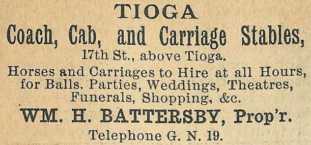 Tioga coach+cab+carriage stables 17n+Tioga ab Boyds BusDir 1890 1109