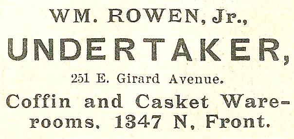 Wm Rowen Jr, undertaker 251 GirE Boyds BusDir 1890 1345