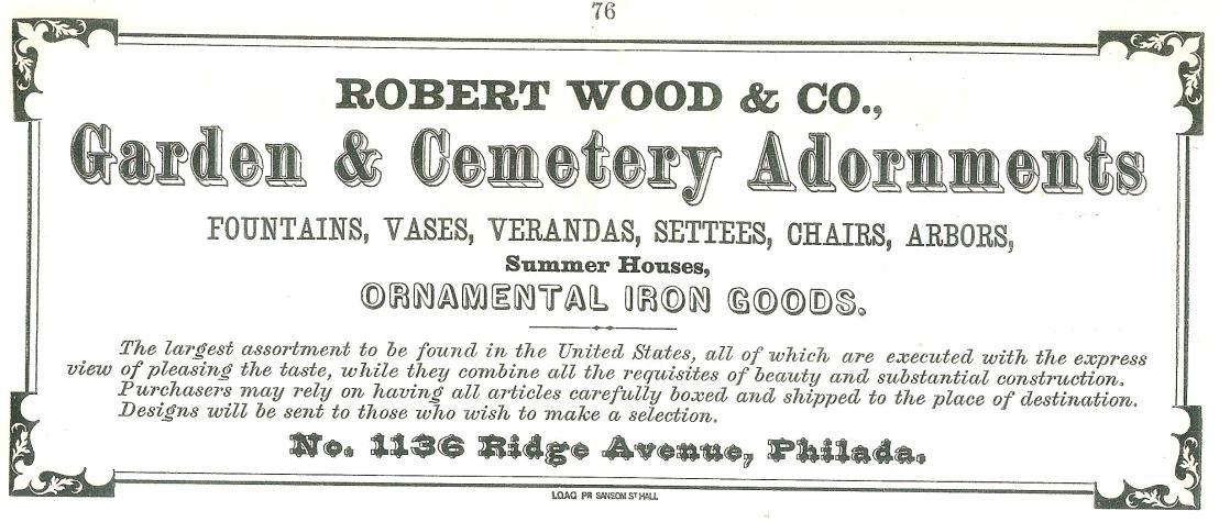 Rbt Wood+Co, garden+cemetery adornments 1136 Rg NEW MUSIC ALBUM ca 1869 p76