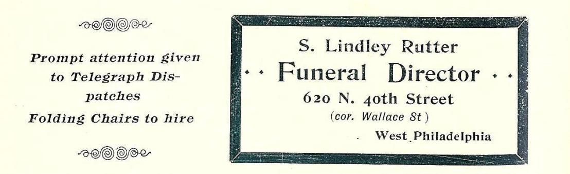 S Lindley Rutter, funeral director 620 40n at Wallace 1893 Phila Blue Book 810