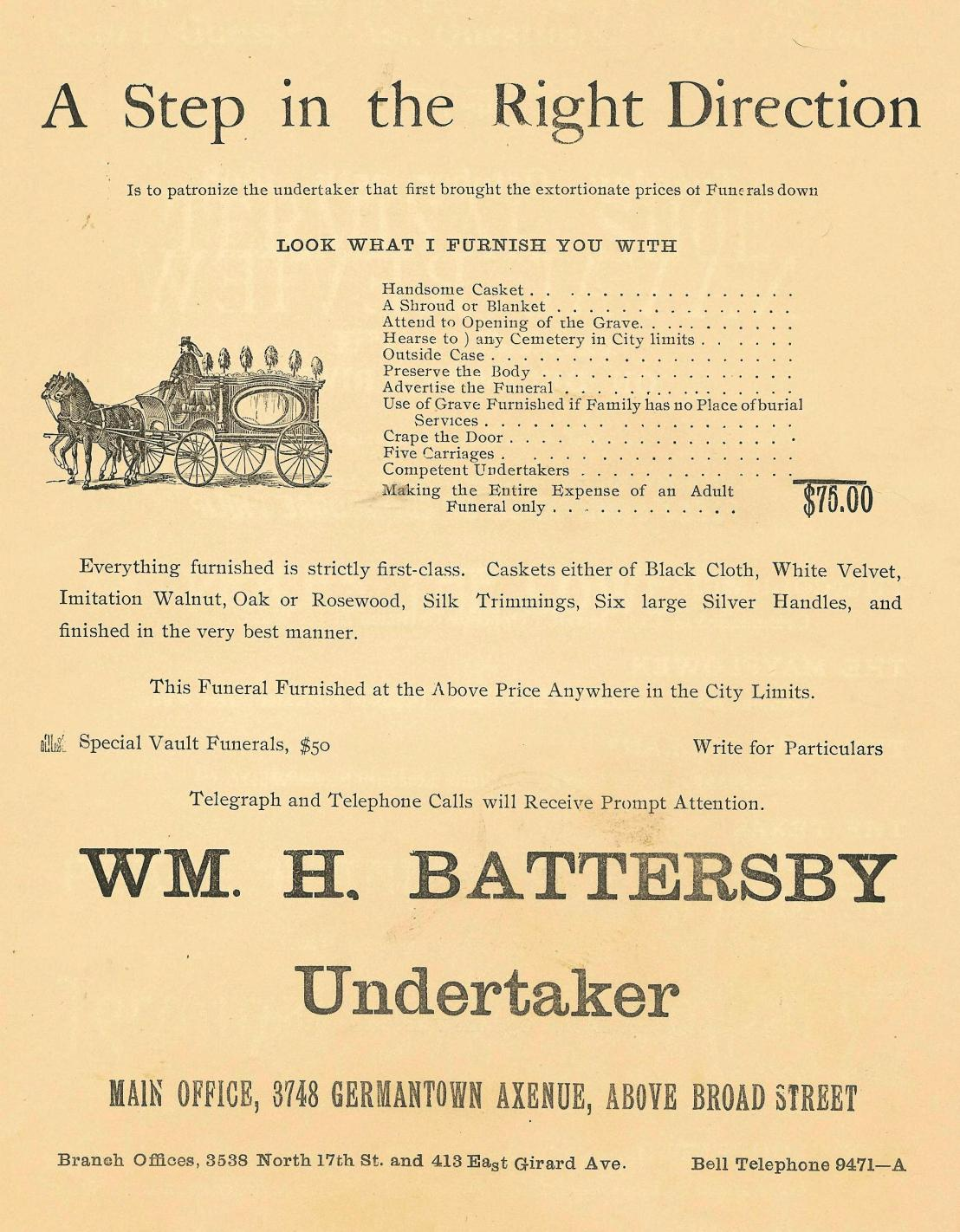 MM Battersby, undertaker 1898 Peace Jubilee