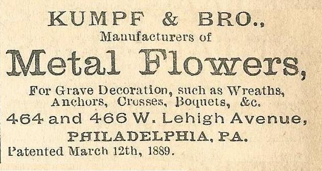 Kumpf+Bro, metal flowers for graves 464 66 Leh Boyds BusDir 1890 1134