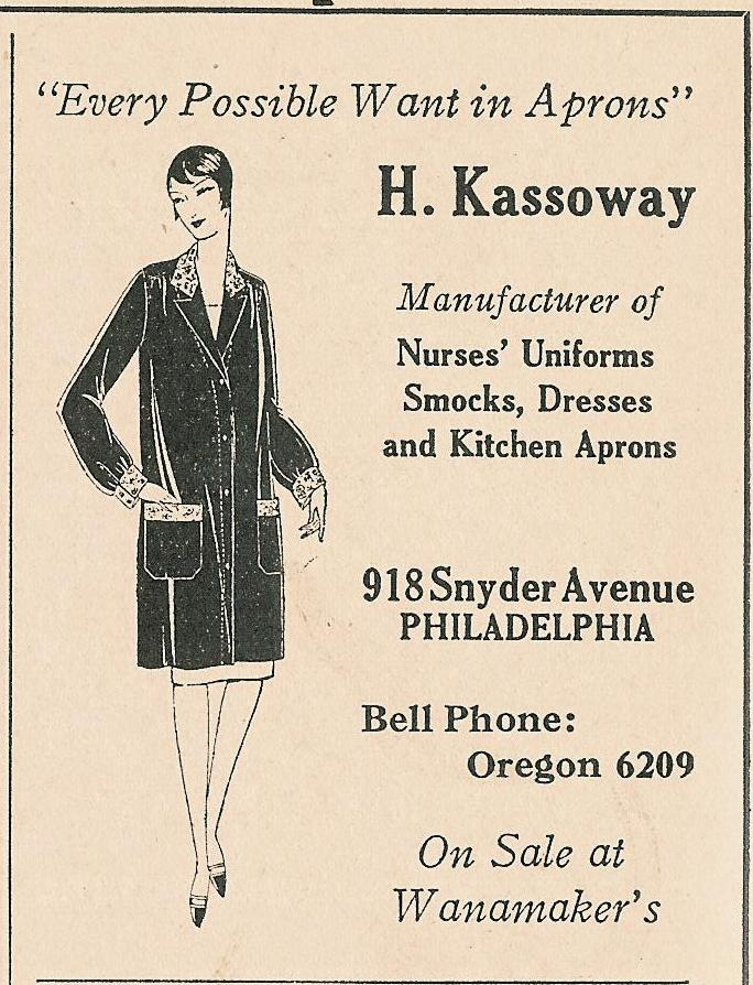 H Kassoway uniforms aprons 918 Snyd 1928 WD 460