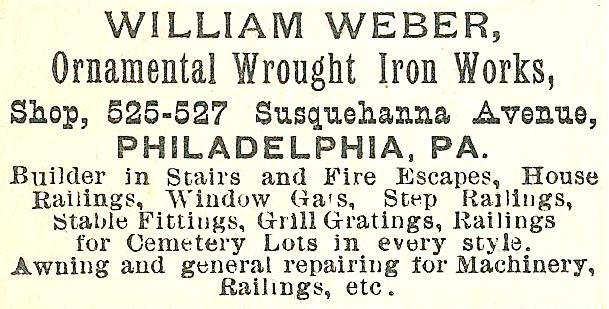 Wm Weber, ornamental wrought iron 525 27 Ssq Boyds BusDir 1890 1068