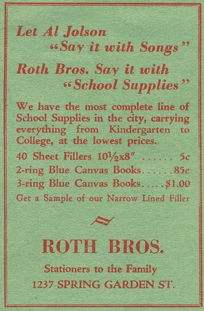 TT Roth Bros stationers 1237 Spring Garden Dec 1929 Mirror Central HS