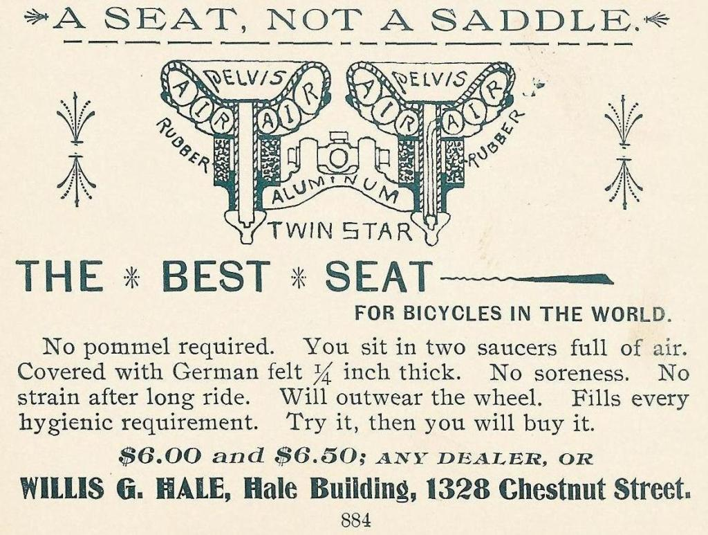 Willis G Hale, bike seat Hale Bg 1328 Chs 1897 Phila Blue Book 884