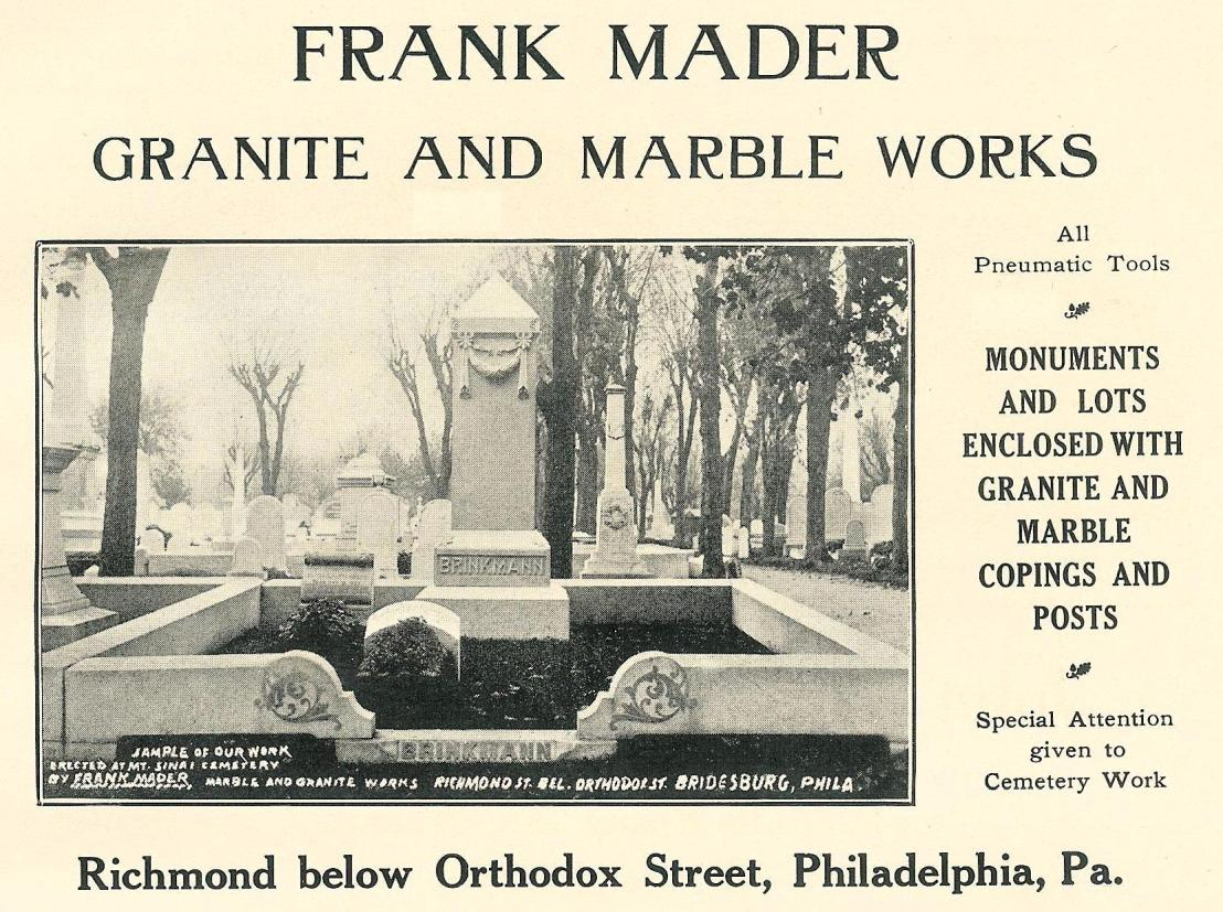Frank Mader,granite+marble monuments,Richmond+Orthodox bel SOUV BOOK 1912, p189