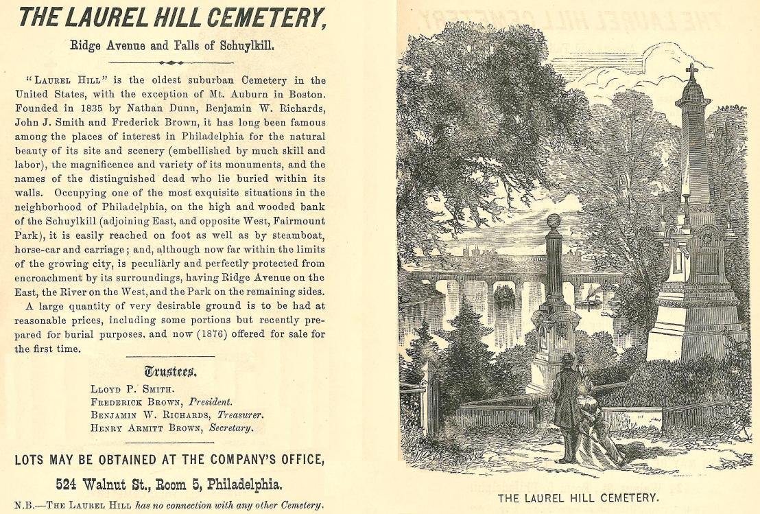Laurel Hill Cemetery, Ridge Ave xxxxx Westcott, PHIL GUIDE 1876, p16 17 end
