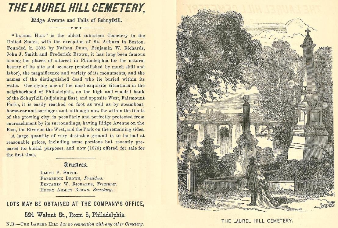 Laurel Hill Cemetery, Ridge Ave xxxxx Westcott, PHIL GUIDE 1876, p16 17 end