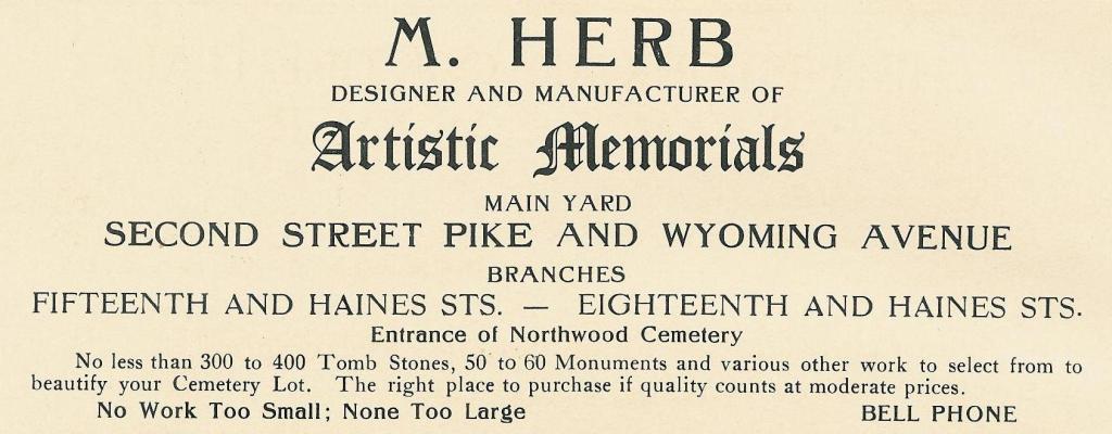 M Herb,artistic memorials,2n+Wyo SOUV BOOK 1912, p186
