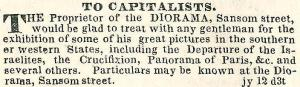 Diorama on Sansom wants capitalists PA INQUIRER 13 July 1839