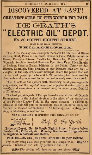 De Grath Electric Oil 8+Chs 3 drs bel 1857