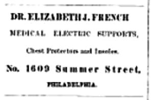 Eliz J French electrical supports 1609 Summer NEW CENTURY FOR WOMEN 24 June 1876 p 53 ads