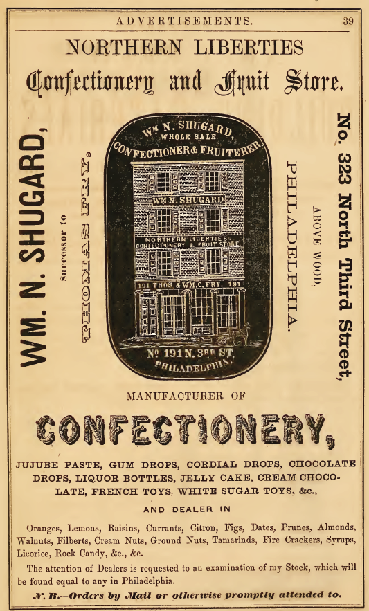 FF Northern Liberties Confectionery,323 3n os 1860