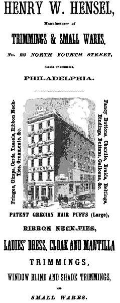 Henry W Hensel,ladies trims,22 4n GAZETTEER M+MT US 1866,p146