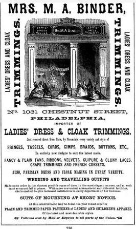 Mrs MA Binder Temple of Fashion MOURNING 1031 Chs 1867 Freedley PHILA MANUF Univ Mich