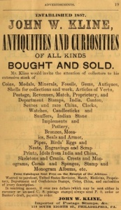 Jhn W Kline,antiques and curiosities,112 8s CPunch+Judy 1874