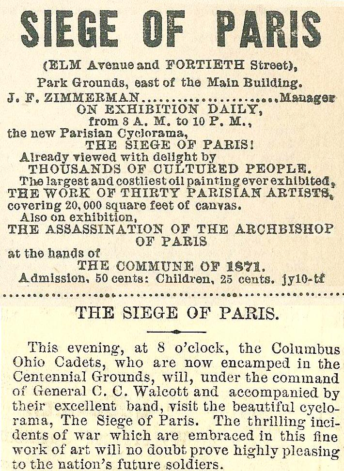 The Siege of Paris, Elm and 40 at Centennial The Press 19 July 1876