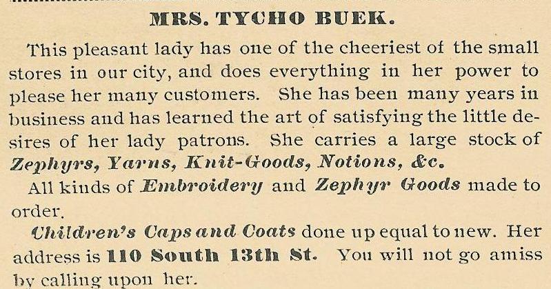 Mrs Tycho Buek, notions yarn zephyrs 110 13s 1888 Leisure H 39