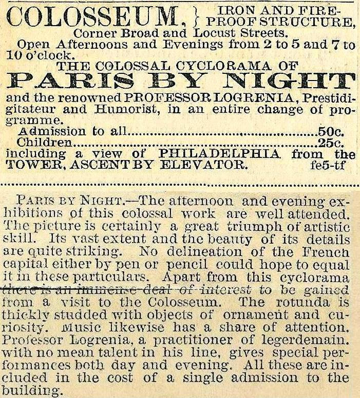 Colosseum with Cyclorama Paris by Night 14s+Loc Eve Bull 12 Feb 1877