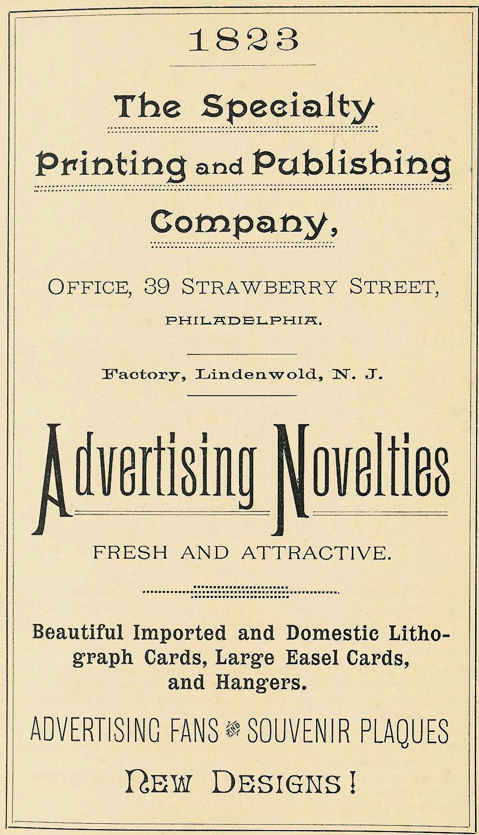 Specialty Printing+Publishing Co, adv novelties 39 Strawberry 1892 19th-CENT ALMANAC