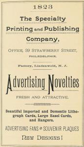 Specialty Printing+Publishing Co, adv novelties 39 Strawberry 1892 19th-CENT ALMANAC