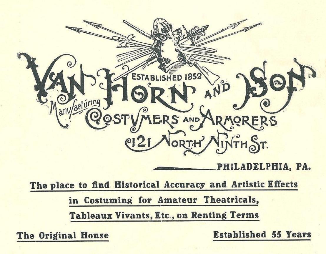 Van Horn+ Sons, costumers+armorers 121 9n Phila Blue Book 1907 40