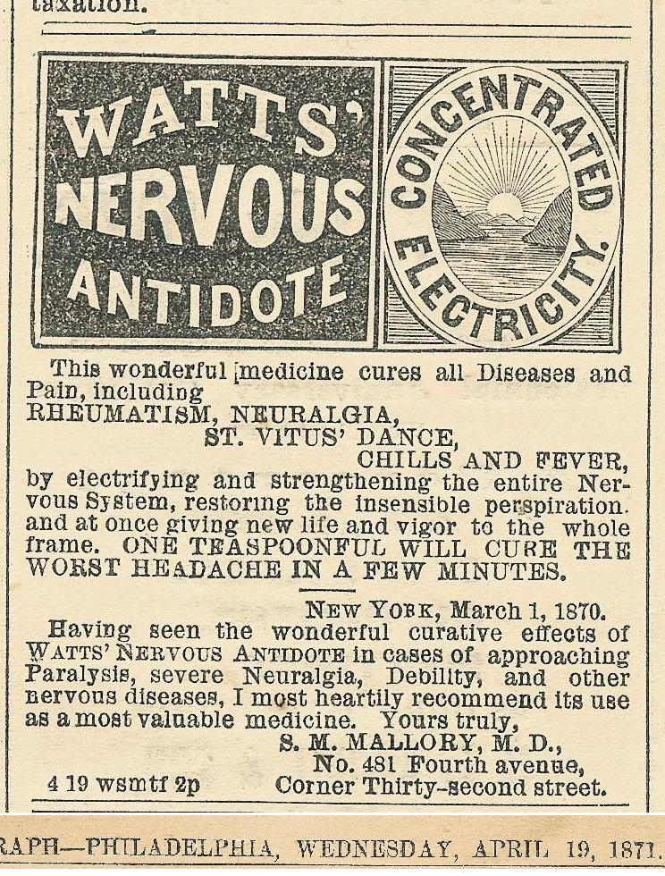Watts Nervous Antidote electrical NEW YORK EVE TG 19 April 1871