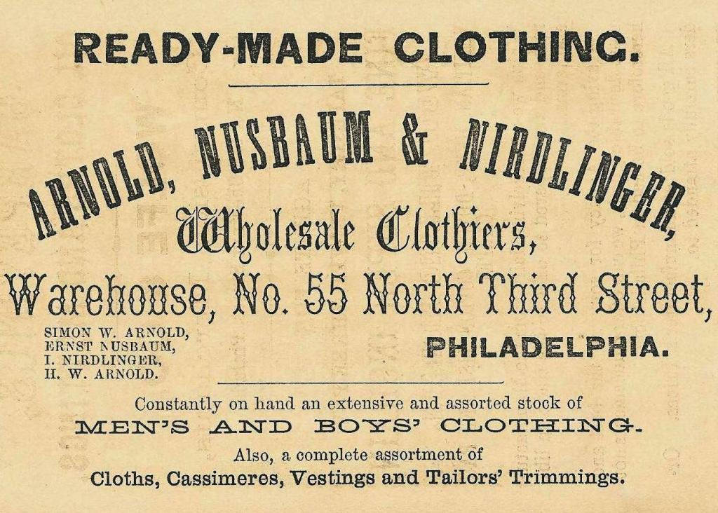 Arnold, Nusbaum+Nirdlinger USE ,clothiers,55 3n COWELL BUS DIR 1860 TROUSERS, p51