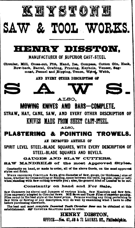 Disston Henry Disston tool works 67 71 Laurel SWORDSFreedley 1867 306 (2)