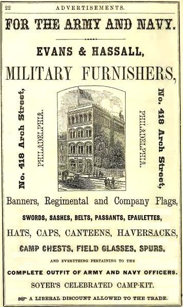 Evans+Hassal,military furnishers,418 Arch FLAGS,McElroys 1864 p22 front