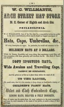 EEE Willmarth WC Willmarth,Arch St Hat Store,8+Arc ne McElroy 1855 end34