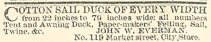 Jhn W Everman cutton sail duck etc DIFF ADDRESS 119 Mkt HAVERSACKS TENTS Eve Bull 12 Feb 77