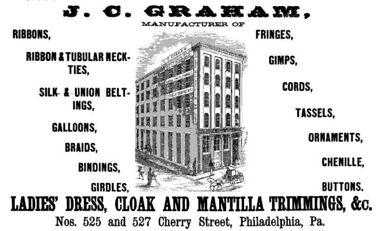 JC Graham,ladies dress,cloak+mantilla trimmings,525-27 Chy