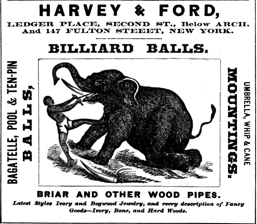Harvey+Ford, billiard balls etc 2+Arc bel SLINGS SNARES Freedley 1867 413