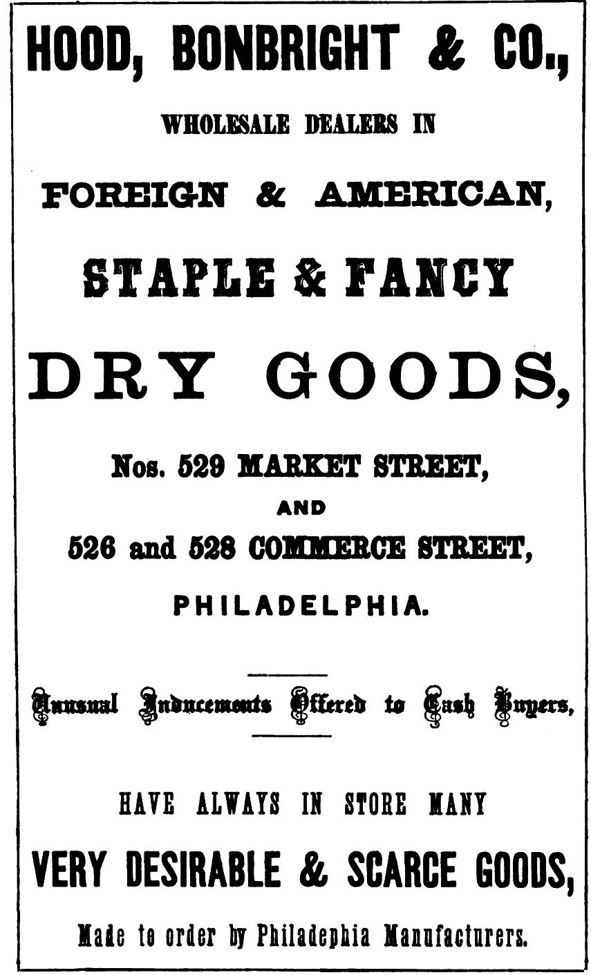 Hood, Bonbright+Co, dry goods 529 Mkt UNIFORMS BUTTONS Freedley 1867 252