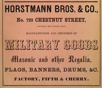 Horstmann Bros+Co military Masonic gds SABERS SWORDS UNIFORMS FLAGS BUTTONS INSIGNIA 723 Chs 1861